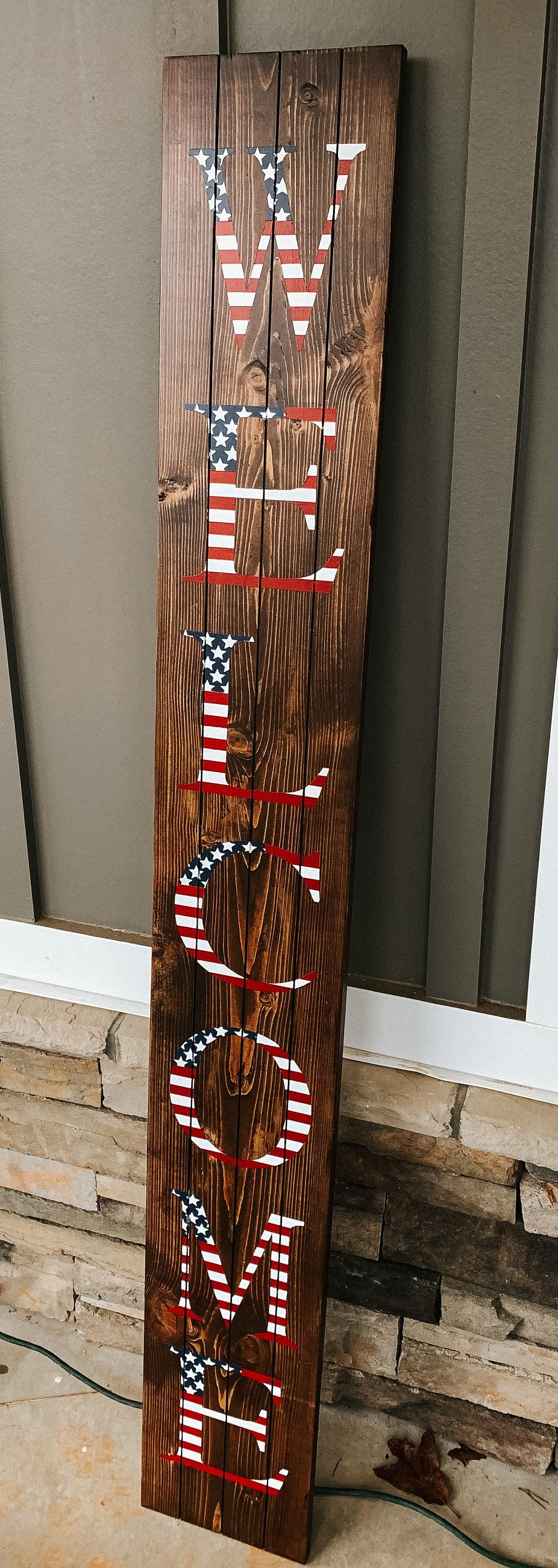Patriotic Welcome Sign, Front porch sign, Welcome sign ...