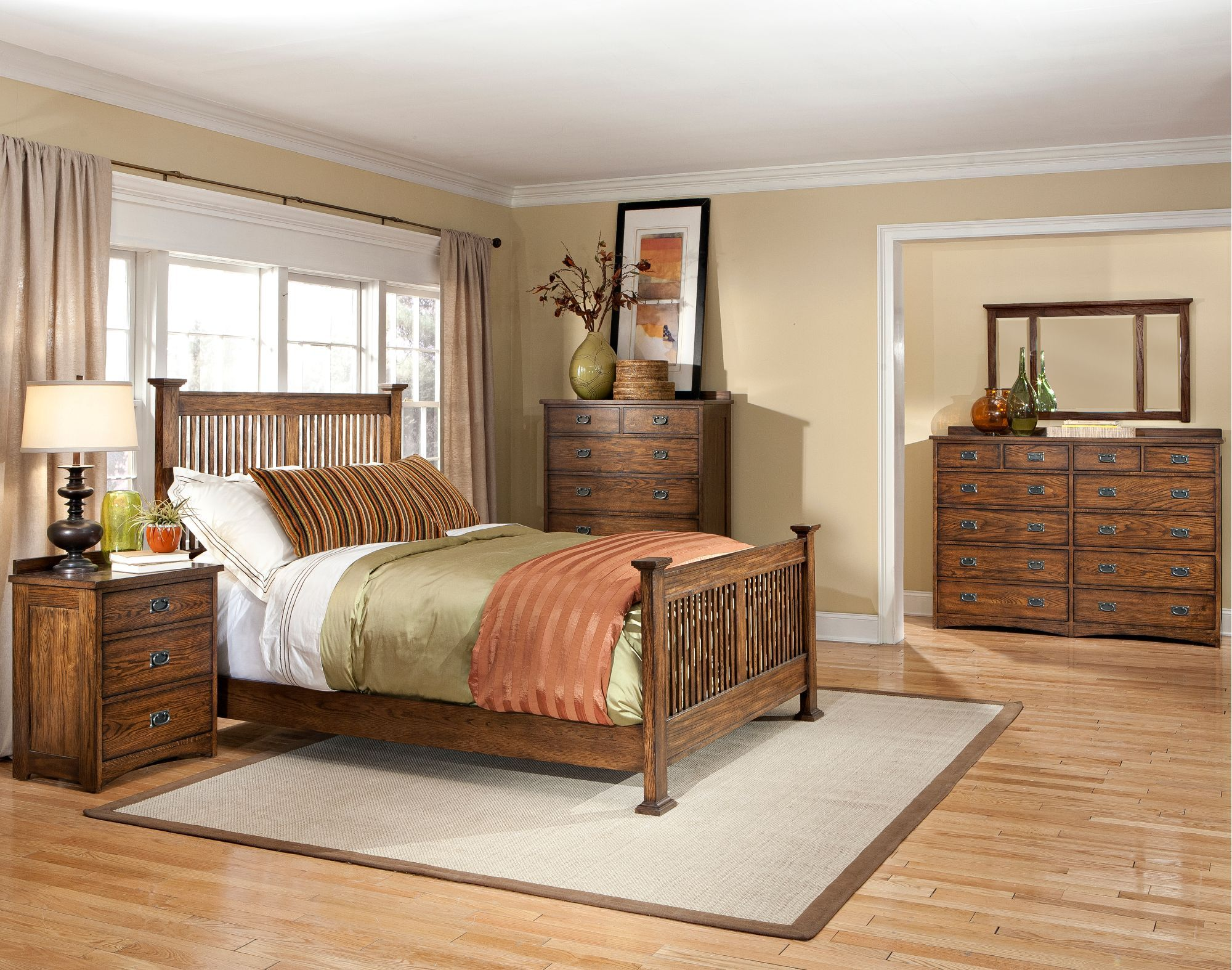 mission oak 4 piece queen bedroom set  oak park with