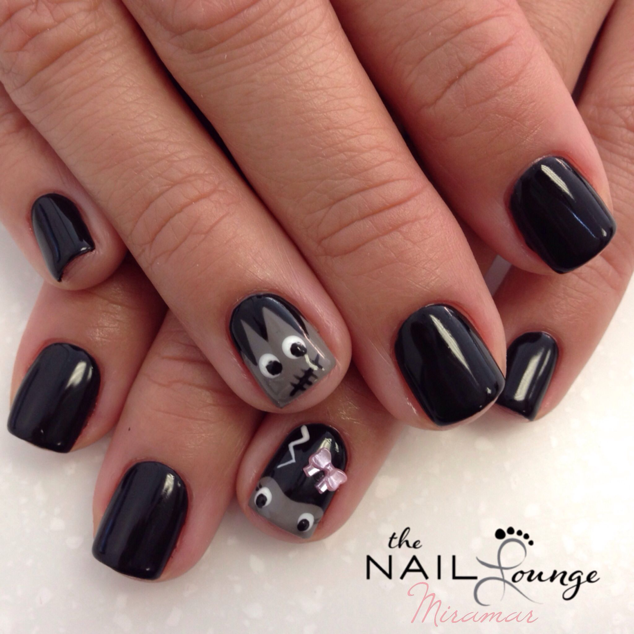 Frankenstein halloween gel nail art design | Gel nail art ...