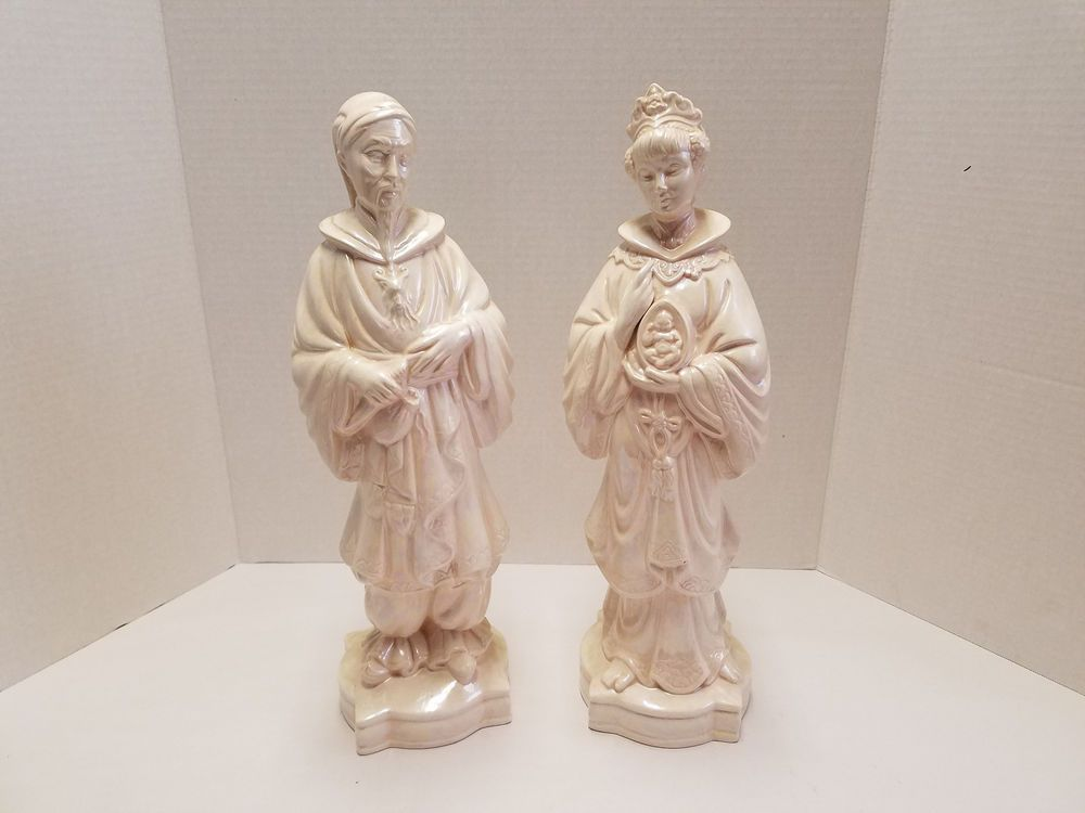 Pair Vintage Holland Mold Ceramic Asian Oriental Emperor