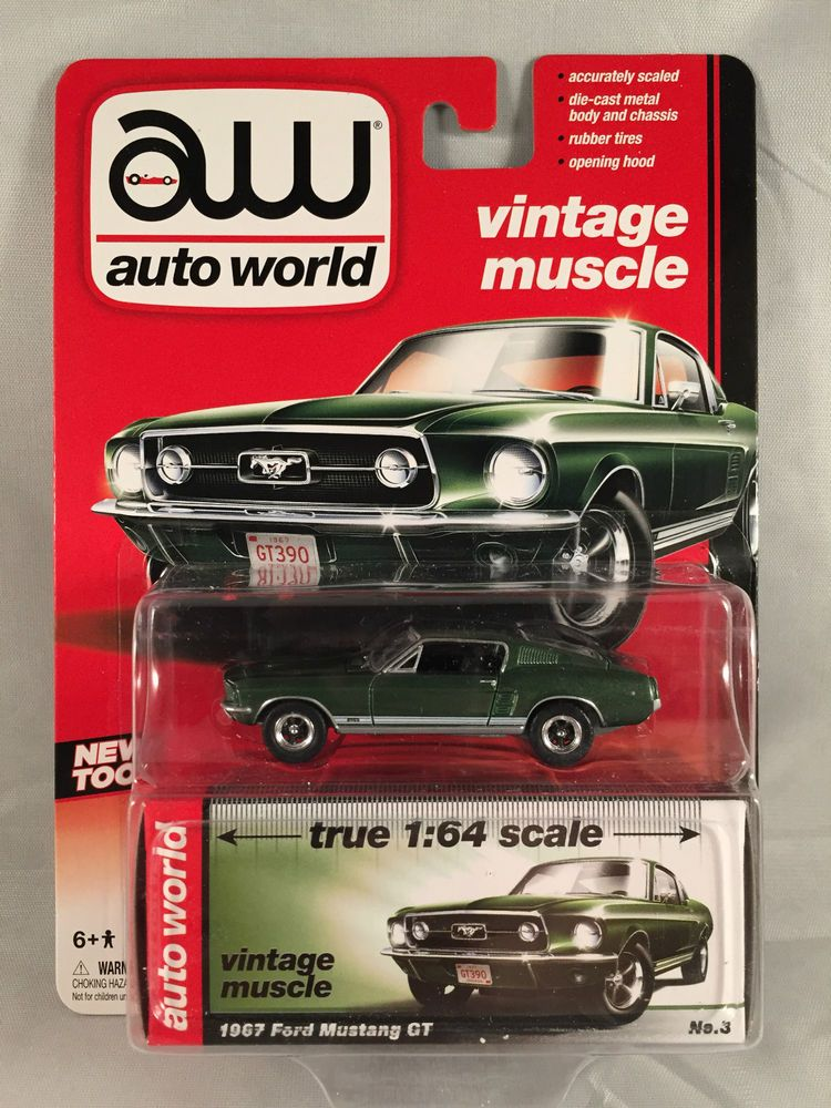 Auto World Vintage Muscle 1967 Ford Mustang GT Olive Green 1:64 ...