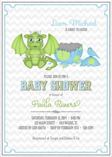 Dragon Baby Shower Invitation by Kimbellished Baby Showers by