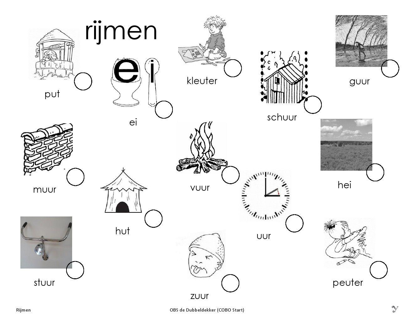 zoek de rijmende woorden | rijmen | school, lettering, floor plans
