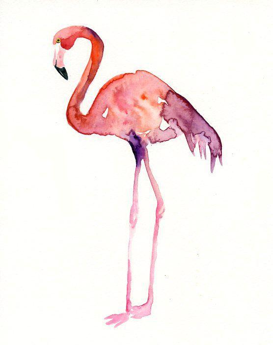 Flamingo Original Watercolor Painting 8x10inch Vertical