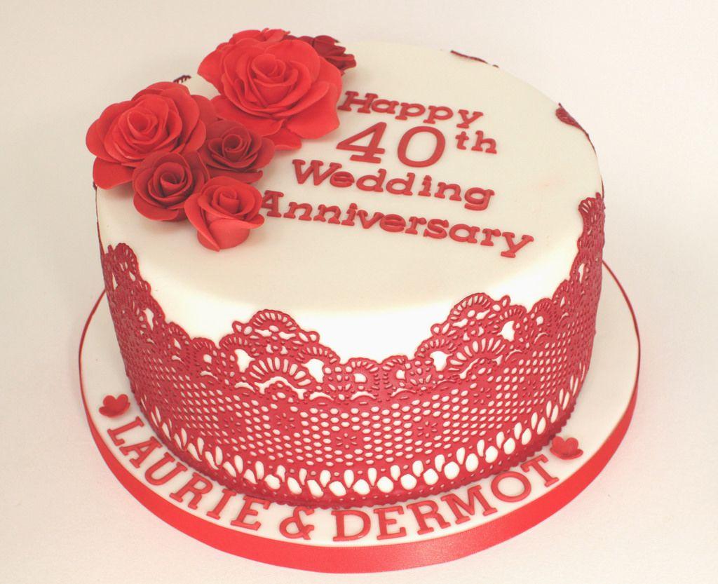 Ruby wedding anniversary cake th wedding anniversary wedding