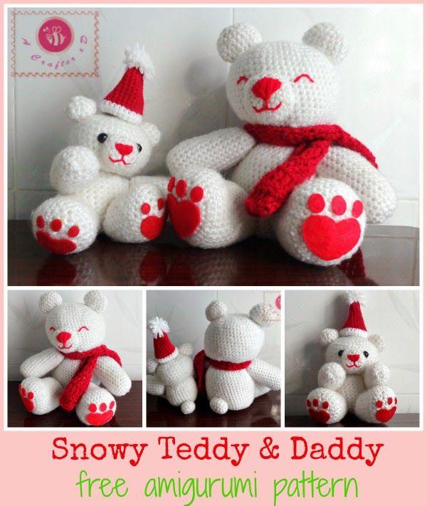 Free Snowy Teddy and Daddy Crochet Amigurumi Pattern