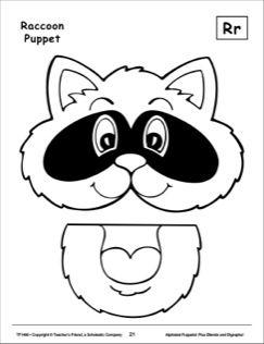 The Letter R Raccoon Alphabet Puppet