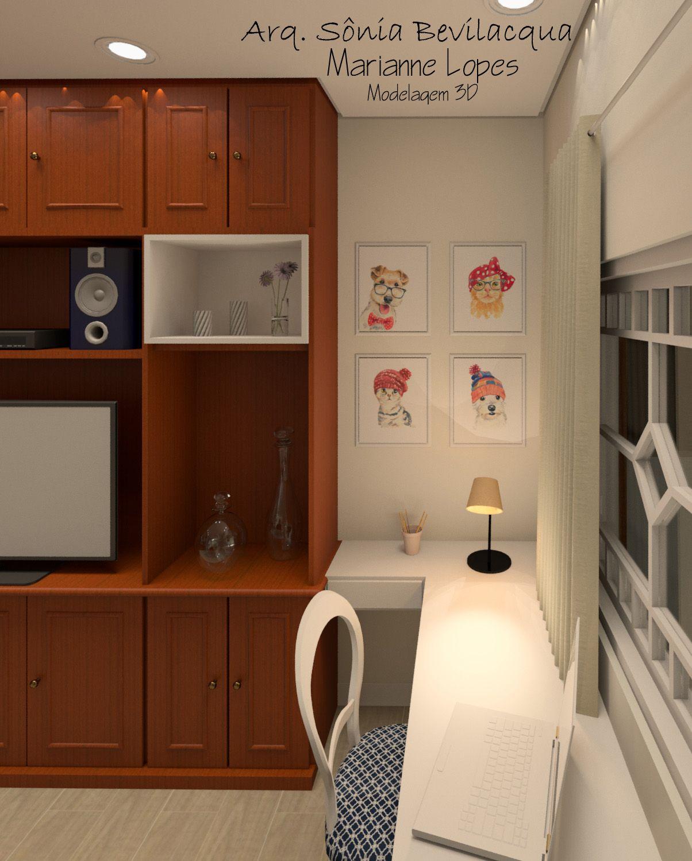 Design interiores estilo provençal contemporâneo para sala de TV e home office.