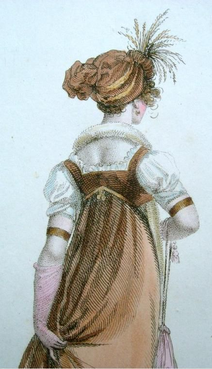 Detail of Full Dress, 1803 from La Miroir de la Mode. This dress has a matching turban trimmed with a spray of short feathers. The fur tippet around the lady's neck reaches to the floor. Two bracelets are worn high on the arms between the short sleeves and long gloves. The purse and slippers are in a slightly lighter shade than the rust of the dress.