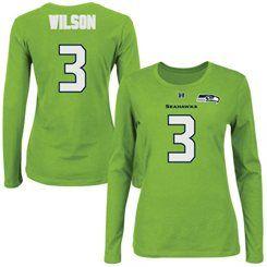 4e4a23d7 Majestic Russell Wilson Seattle Seahawks Women's Neon Green Fair ...