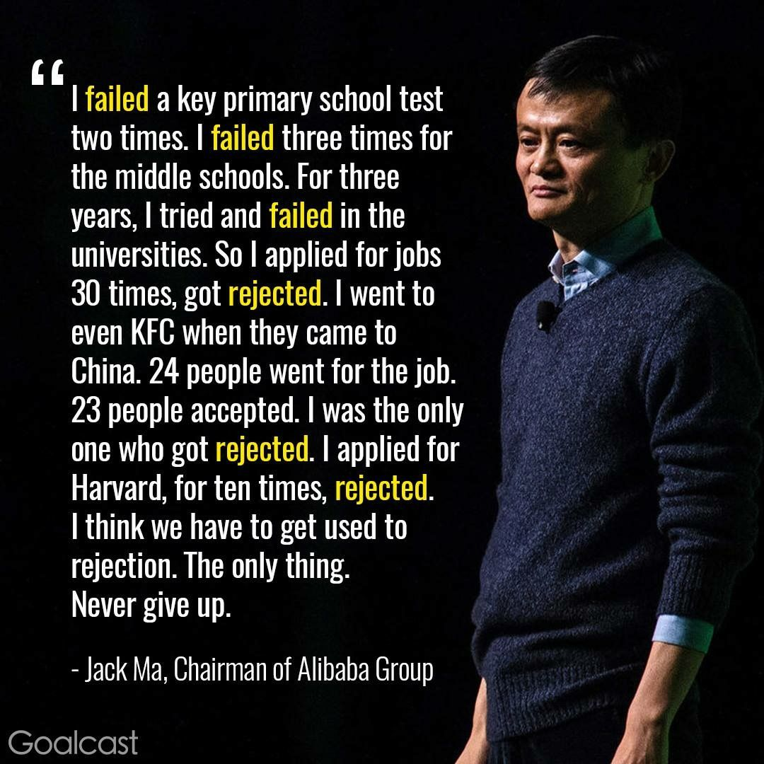 Jack Ma of Alibaba Business quotes, Life quotes, Rejection