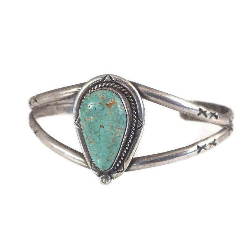 Vintage Navajo Sterling Silver Turquoise Cuff Bracelet Signed Jv