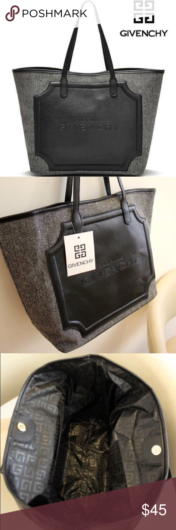 Black Vip Grey Gift Tote Faux Givenchy 100 Bag New Leather HWDY9EI2