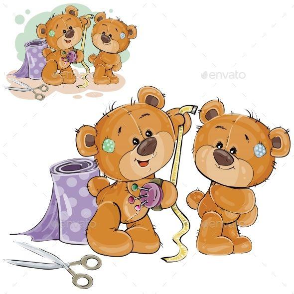 Illustration Of A Brown Teddy Bear Tailor Bear Character Design Cartoon Elephant Bear Cartoon