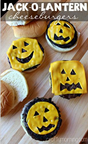 Jack-o-Lantern Pumpkin Cheeseburgers for Kids #Halloween lunch or dinner idea!   CraftyMorning.com