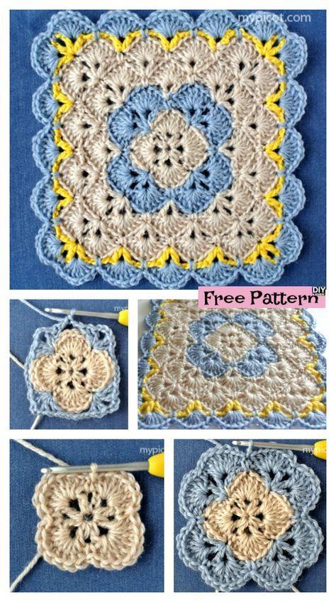 Crochet Shell Square Blanket - Free Pattern | Crochet | Pinterest ...