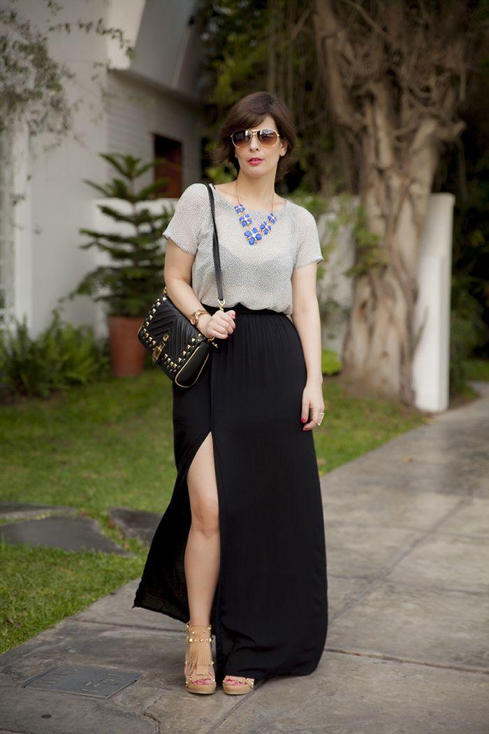 Divina Ejecutiva  Mis Looks - Maxi Falda Negra  b5c63489a5e0