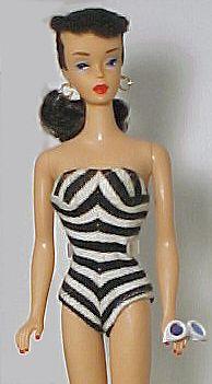 Vintage Barbie Black And White Swimsuit Zebra Swimsuit First Barbie Swimsuit Black And White Swimsuit Vintage Barbie Barbie Swimsuit