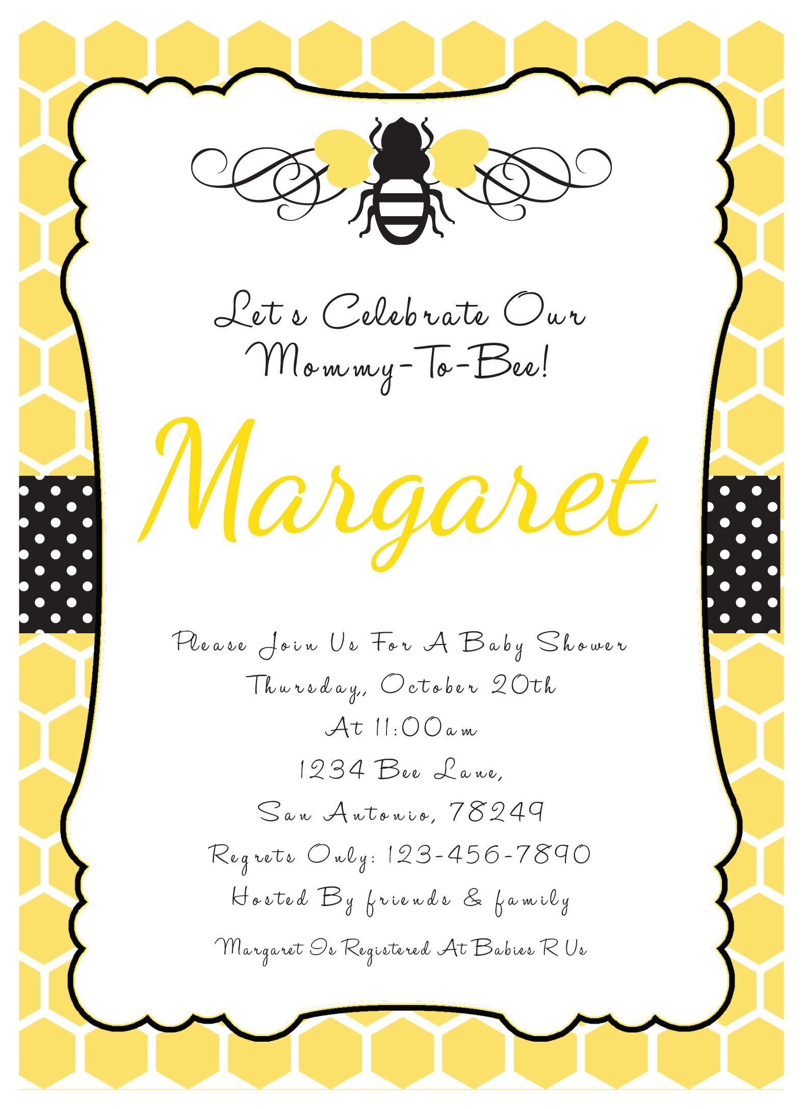 bumble bee invitations baby shower - Google Search | Baby stuff ...