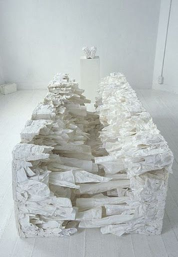 Naoko Yoshimoto. She creates conceptual installations made from garments