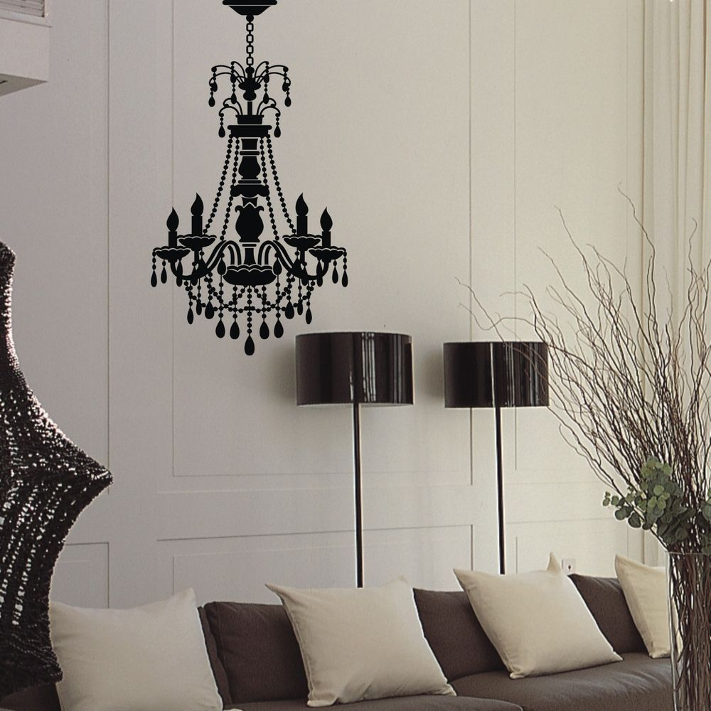 Chandelier hanging lamp black vinyl wall decal sticker home bedroom office decor colorfulhall artscraftsmissionstyle