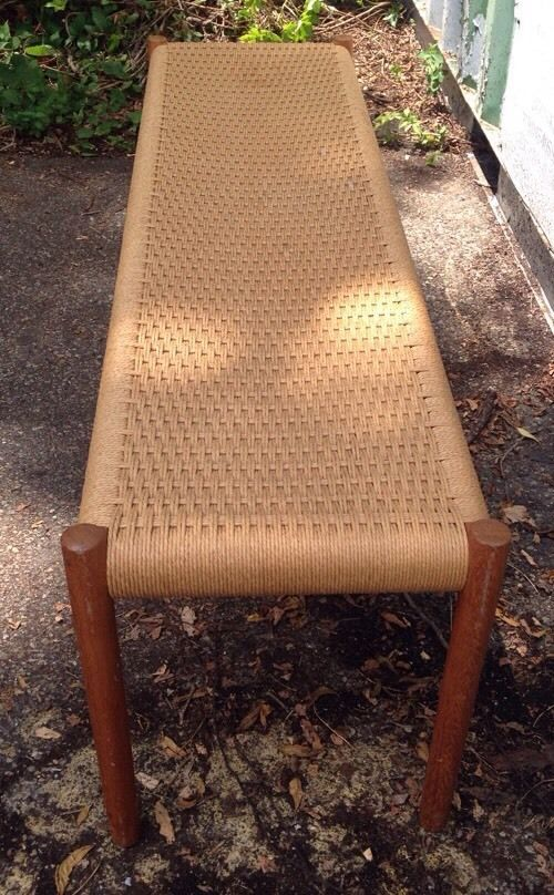 Mcm Danish Woven Rope And Teak Window Bench 1960 S Window Benches Woven Dining Chairs Modern Retro Furniture