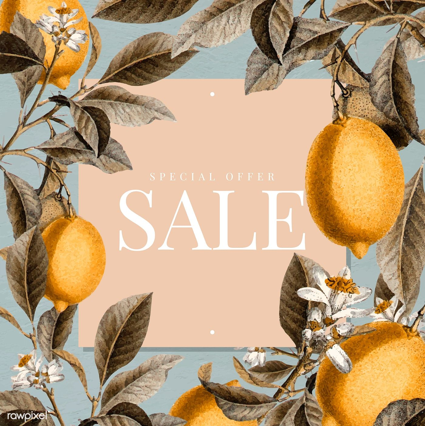 Download premium vector of Tropical sale sign with lemons