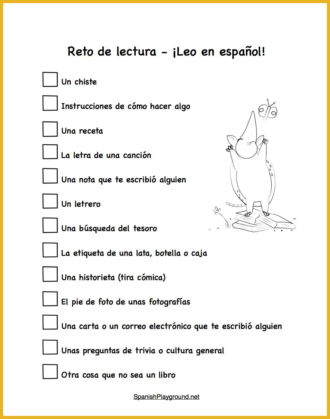 worksheet Spanish Reading Comprehension Worksheets spanish reading practice 15 things to read challenge should include a variety of types text different for kids in and printable
