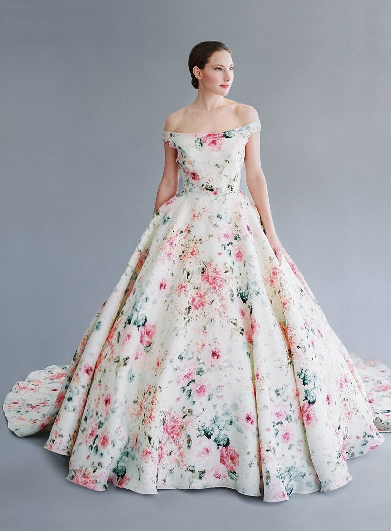 Flower print wedding gown  Alicia gown by Jaclyn Jordan  robes  Pinterest  Gowns Wedding