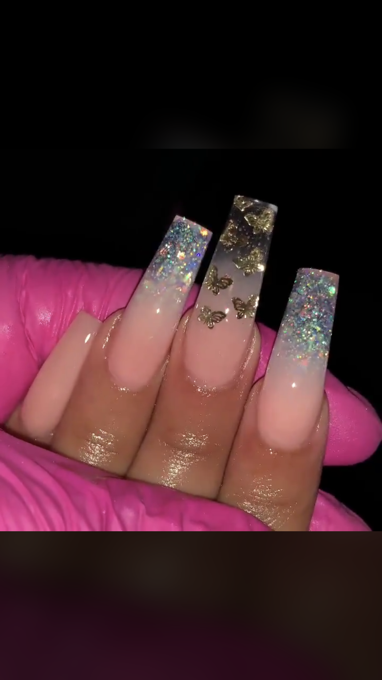 Butterfly Sparkle Nails Bling Acrylic Nails Glitter Nails Acrylic Long Acrylic Nails