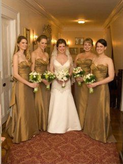 gold colored bridesmaid dresses