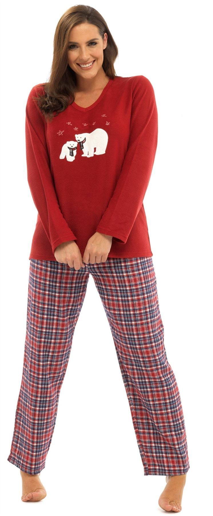 be9e89e29 Para Mujer Reno Y Oso Polar De Navidad De Lujo Polar Pijamas eyemask por  foxbury
