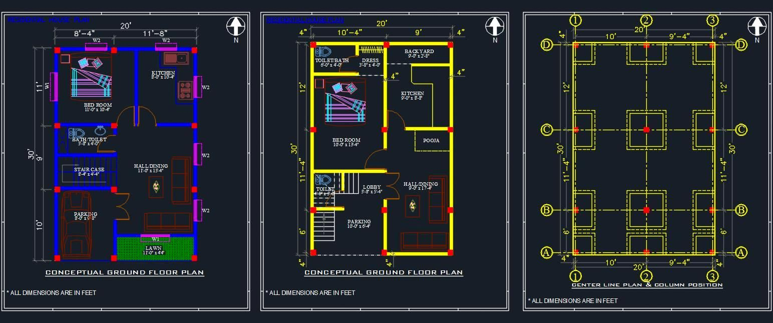 Autocad Drawing Of A House Shows Space Planning Of 1 Bhk House In Plot Size 20 X30 Space Planning House Layout Plans House Plans