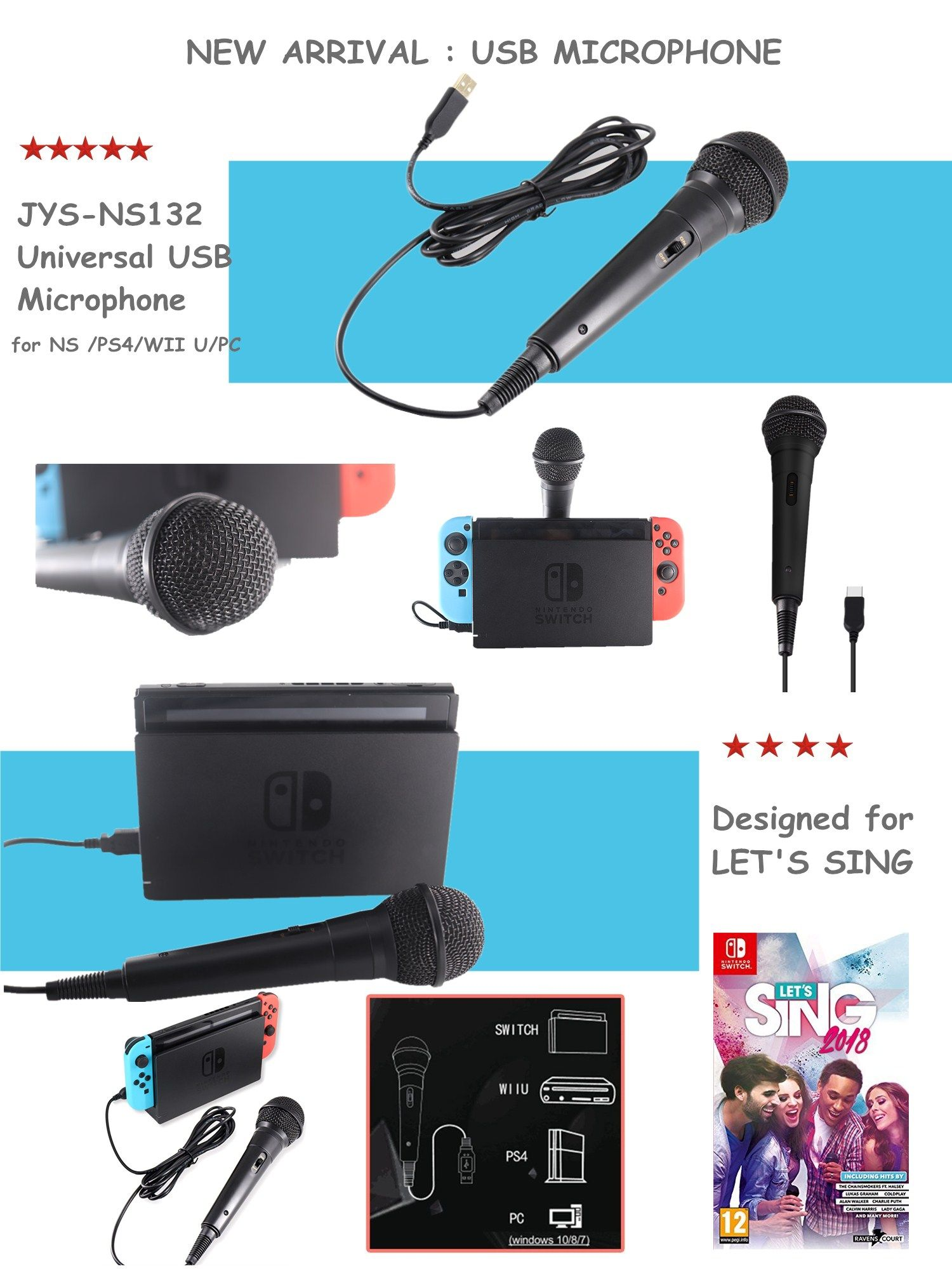 Usb Wired Microphone With 3m Cable For Use Nintendo Switch Splatoon2 Hard Case Ink X Squid Hori Switchwii Upcps4 Uni Directional Dynamic Featues A Lockable On Off