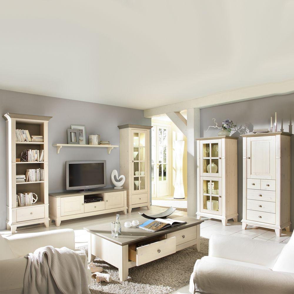 wohnzimmermöbel set in weiß (7-teilig) - gemütliche landhausmöbel, Wohnzimmer dekoo