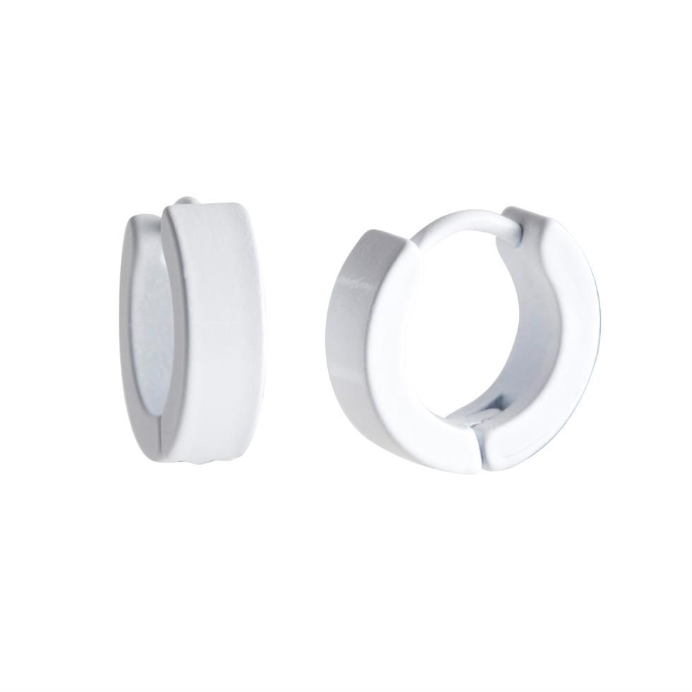 Mens White Stainless Steel Hinged Hoop Earrings by Urban Male