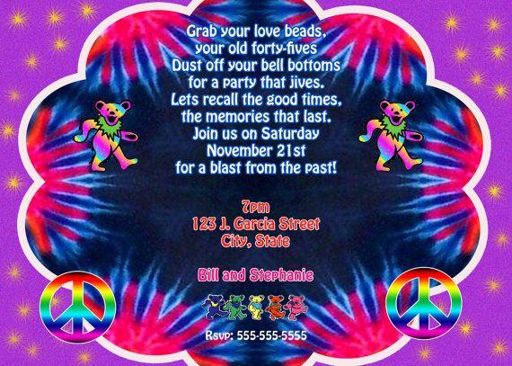 Grateful Dead Theme Birthday Invitation Tie by Pixelimpressions