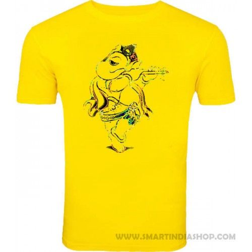 8966ea1816c0 Colourful God ganesh art design printed yellow colour cotton t shirts for  men and kids