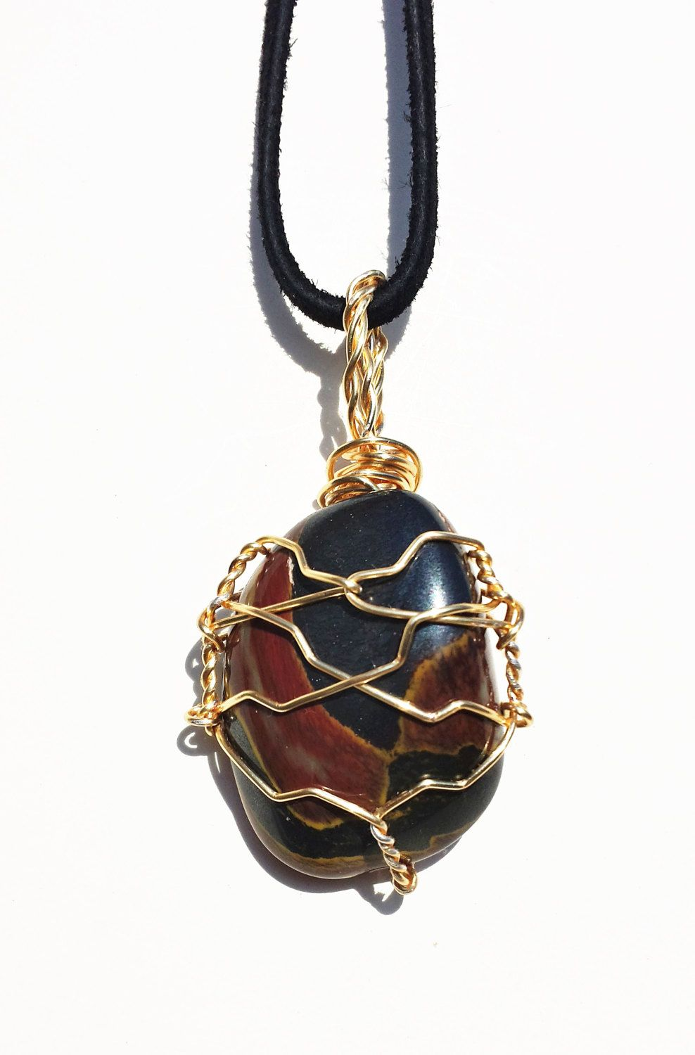 Unique Wire Wrapped MUGGLESTONE (Tiger Iron) Stone Healing Crystal ...