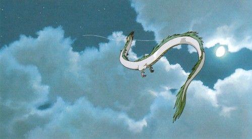 Haku S White Dragon Form From Hayao Miyazaki And Studio Ghibli S Spirited Away Flying Into The Night Sky Via M Studio Ghibli Studio Ghibli Art Spirited Away