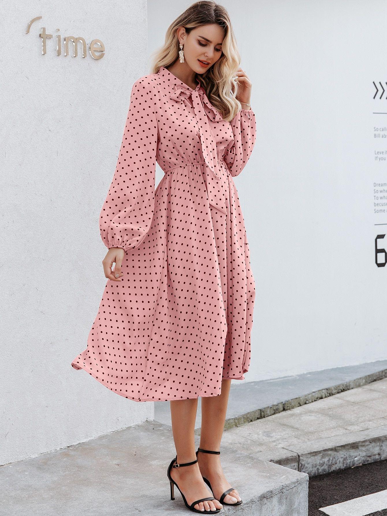 Ad Simplee Tie Neck Lantern Sleeve Polka Dot Dress Tags Elegant Pink Pastel Polka Dot Stand Collar Long A Line Tie Neck Fashion Boho Fashion Dresses [ 1785 x 1340 Pixel ]