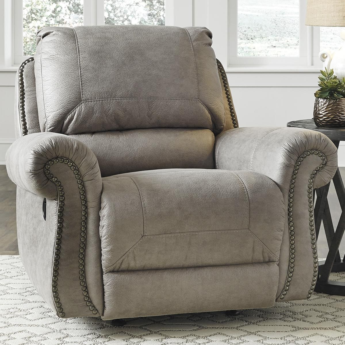 Signature Design by Ashley Olsberg Manual Recliner in Steel