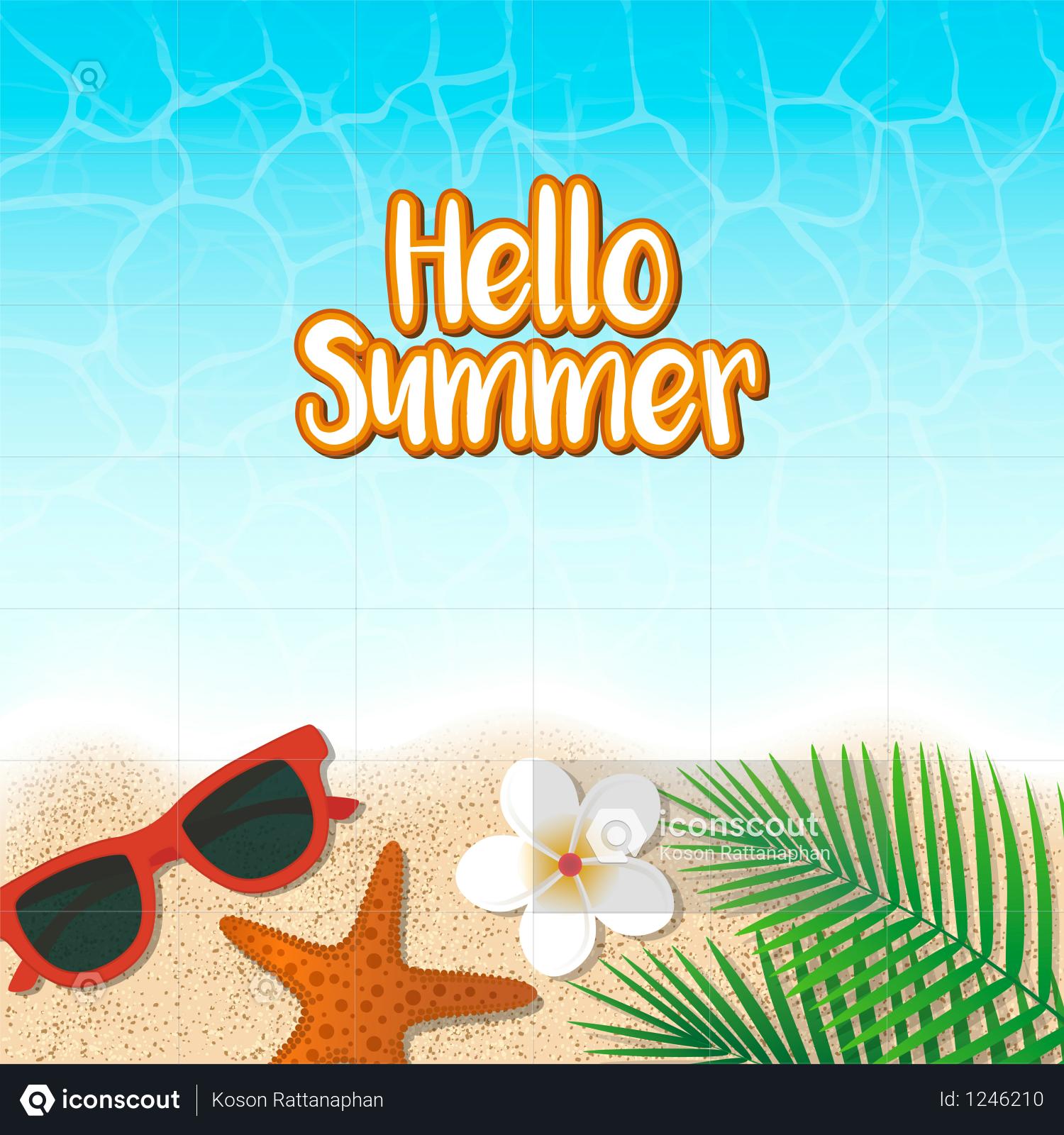Premium Hello summer holiday background Illustration