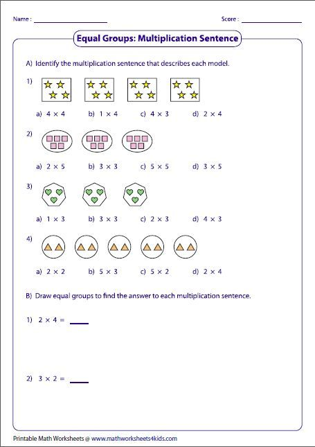 Equal Groups Multiplication Sentences With Images