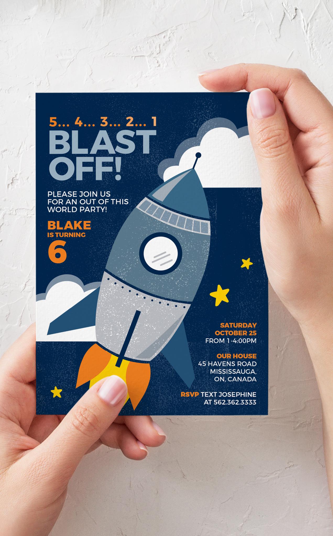 Blast Off! Rocket Birthday Party Invitation ในปี 2020
