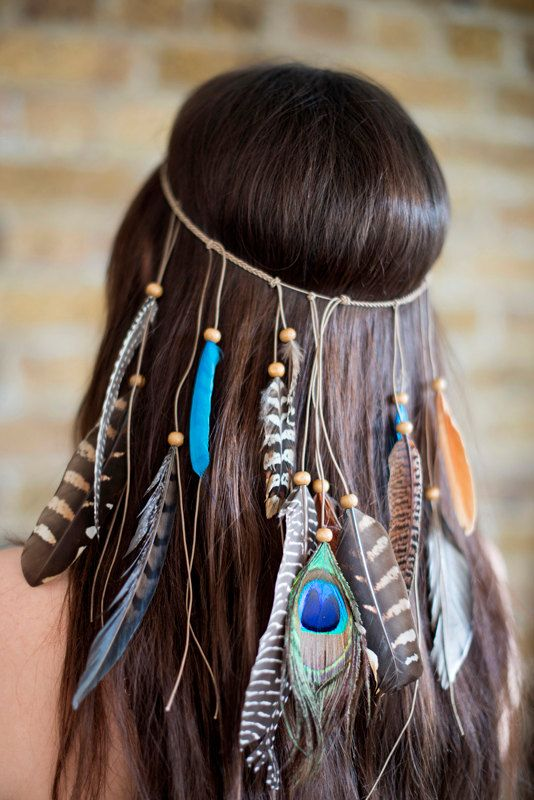 Boho Festival Feather Headpiece by CollectionsbyHayley on Etsy  https://www.etsy.com/ca/listing/227317828/boho-festival-feather-headpiece?ref=favs_view_
