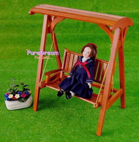 1:12 Dollhouse Miniature Garden Furniture Porch Swing CUTE WG0032