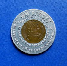 WM ROSOFF CLOTHING STORE - LUCKY ENCASED PENNY - 502 SOUTH ST PHILA  ADVERTISING