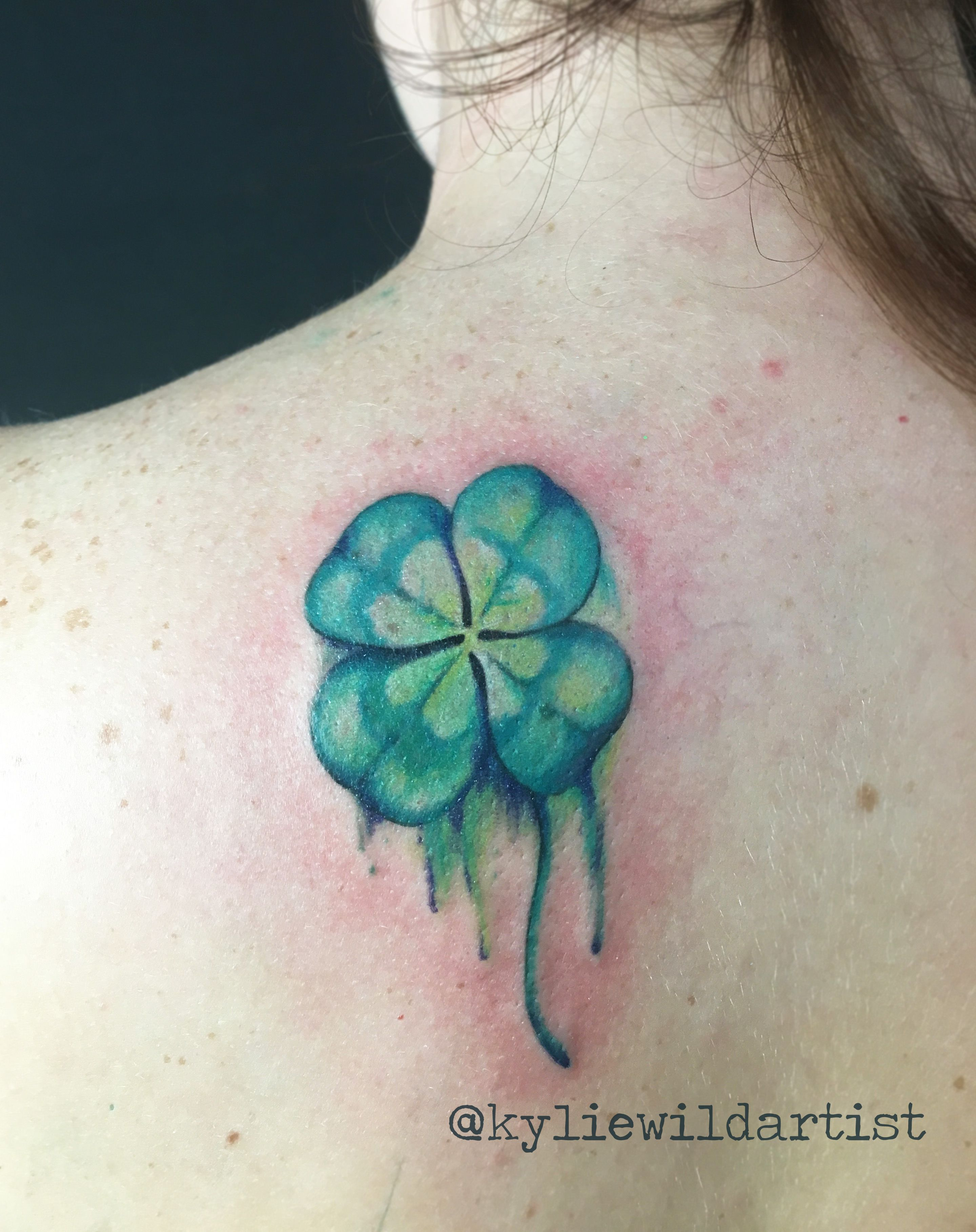 Watercolor Four Leaf Clover Tattoo By Kylie Wild Heslop Artist