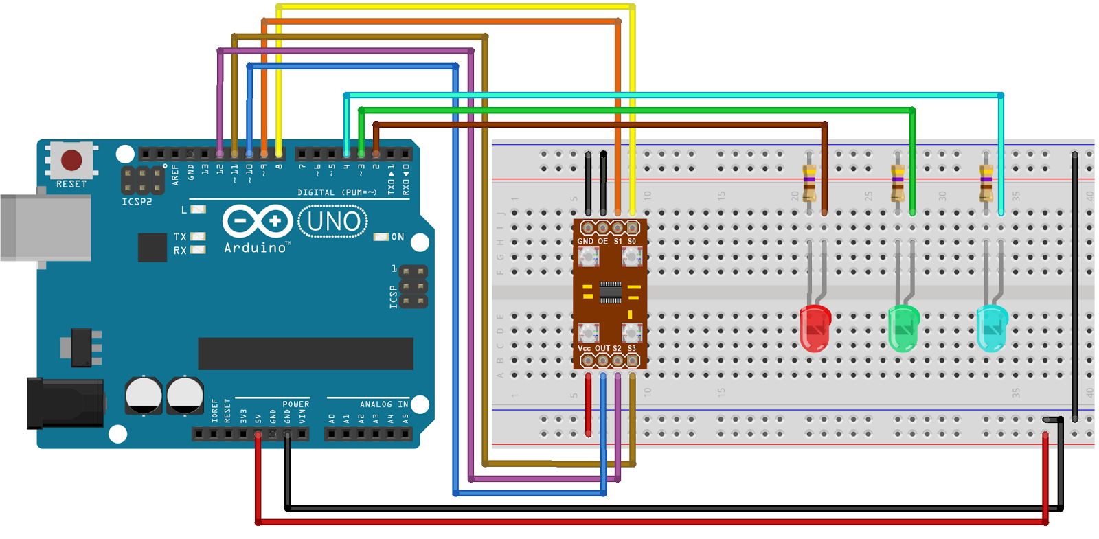 Tutorial on Arduino Interfacing with TCS230 color sensor module with code  and circuit.